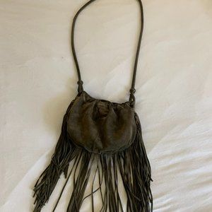 Urban outfitters olive green fringe bag purse